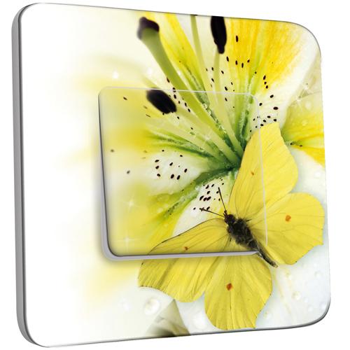 interrupteur d cor simple va et vient papillons fleur jaune zoom pas cher. Black Bedroom Furniture Sets. Home Design Ideas