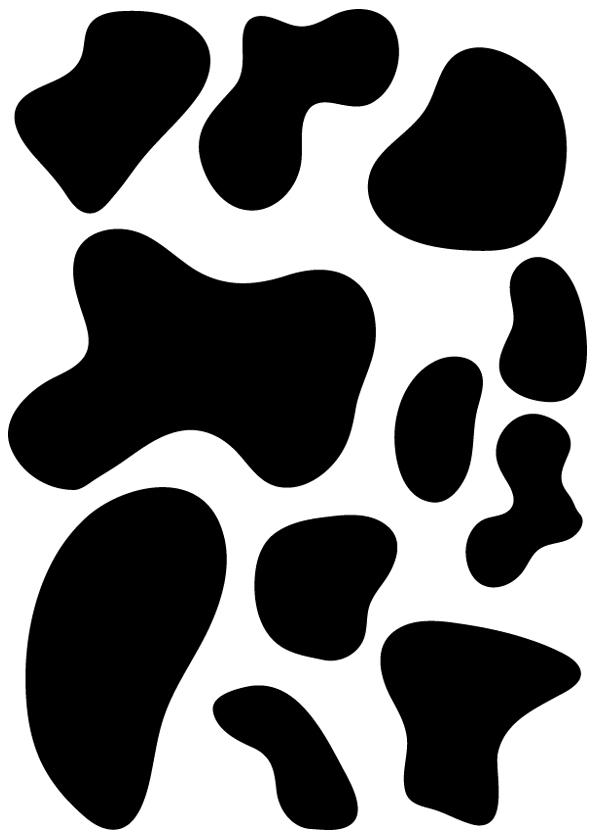 kit 11 stickers tache de vache pas cher. Black Bedroom Furniture Sets. Home Design Ideas