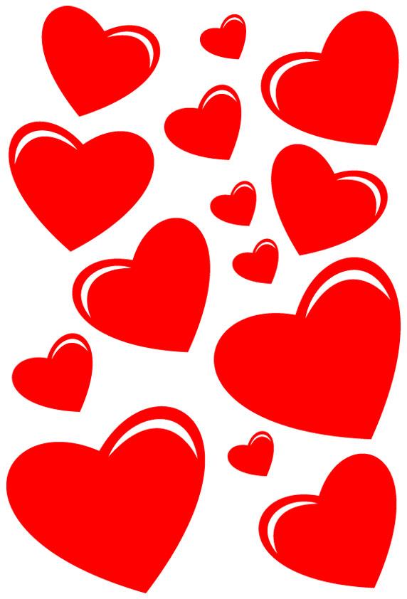 Kit 14 stickers coeur pas cher - Modele de coeur a decouper ...