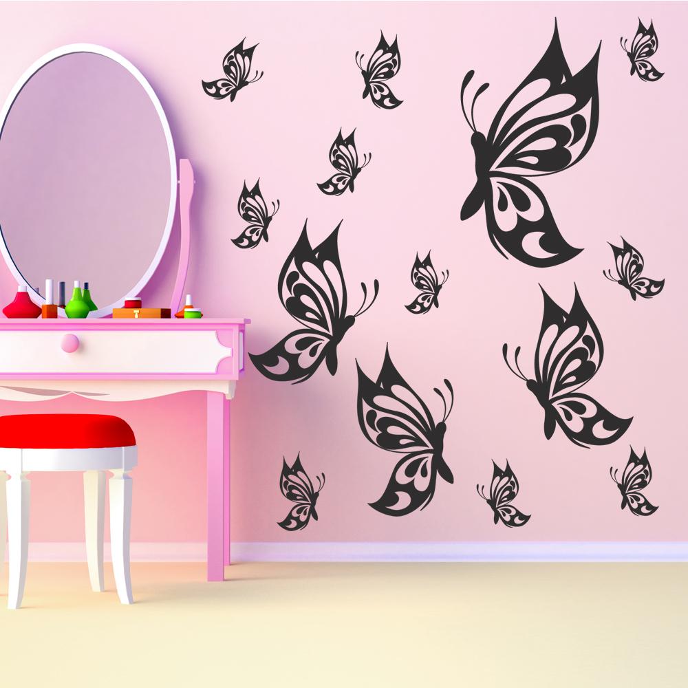 kit 14 stickers papillon pas cher. Black Bedroom Furniture Sets. Home Design Ideas