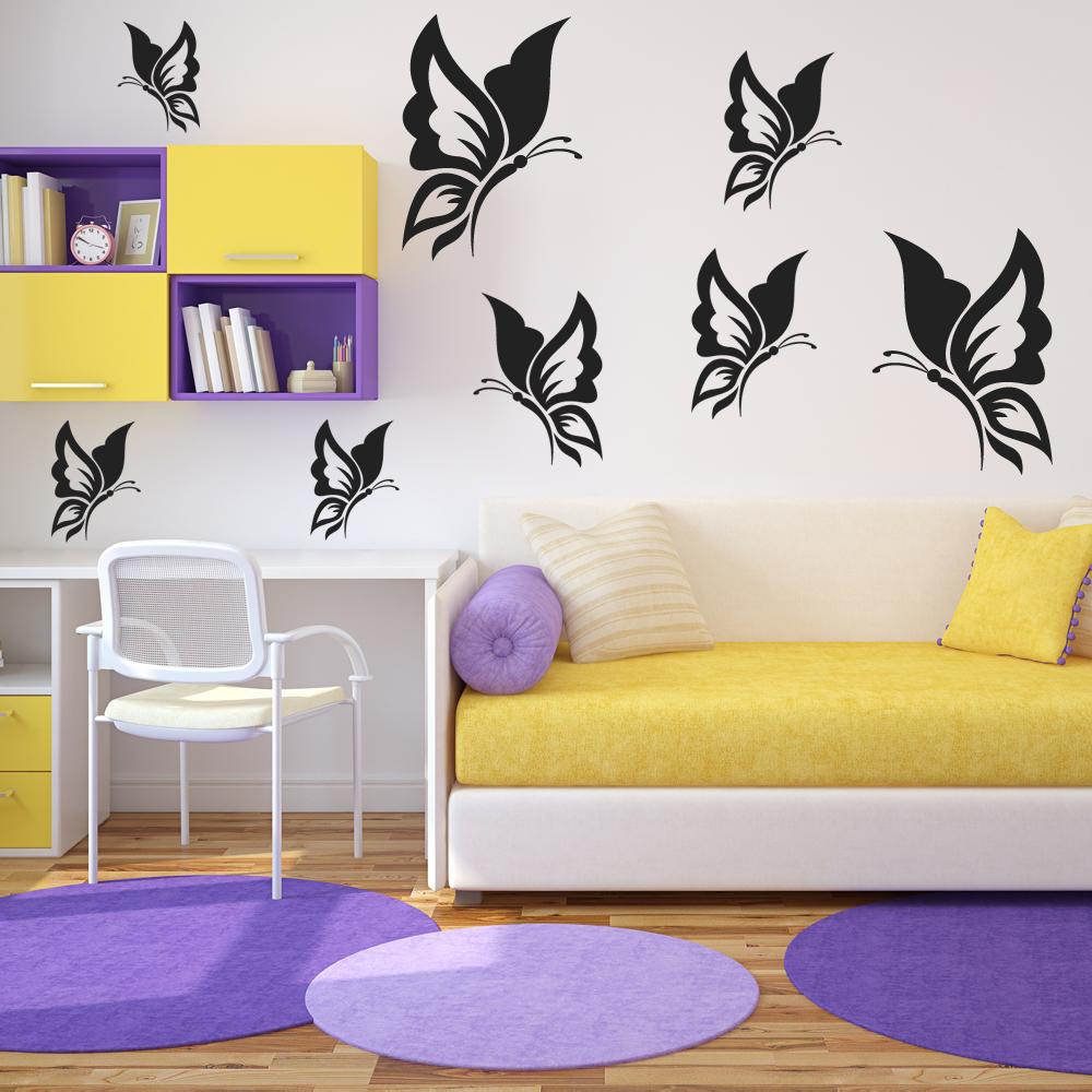 kit 18 stickers papillon pas cher. Black Bedroom Furniture Sets. Home Design Ideas