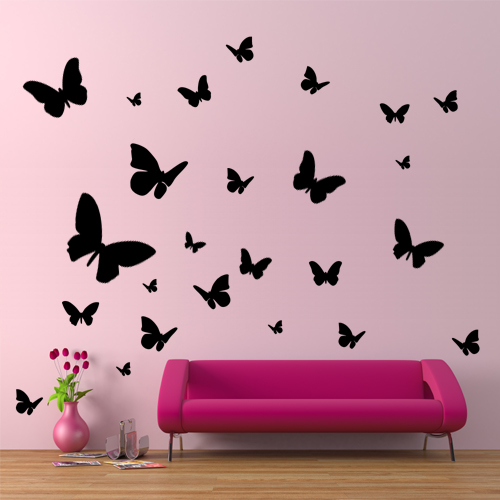 kit 25 stickers papillon pas cher. Black Bedroom Furniture Sets. Home Design Ideas