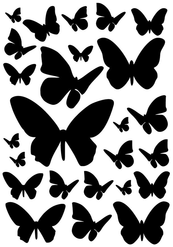 kit 25 stickers papillon pas cher. Black Bedroom Furniture Sets. Home Design Ideas