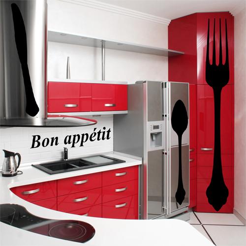 Kit 4 stickers cuisine pas cher for Stickers meuble cuisine
