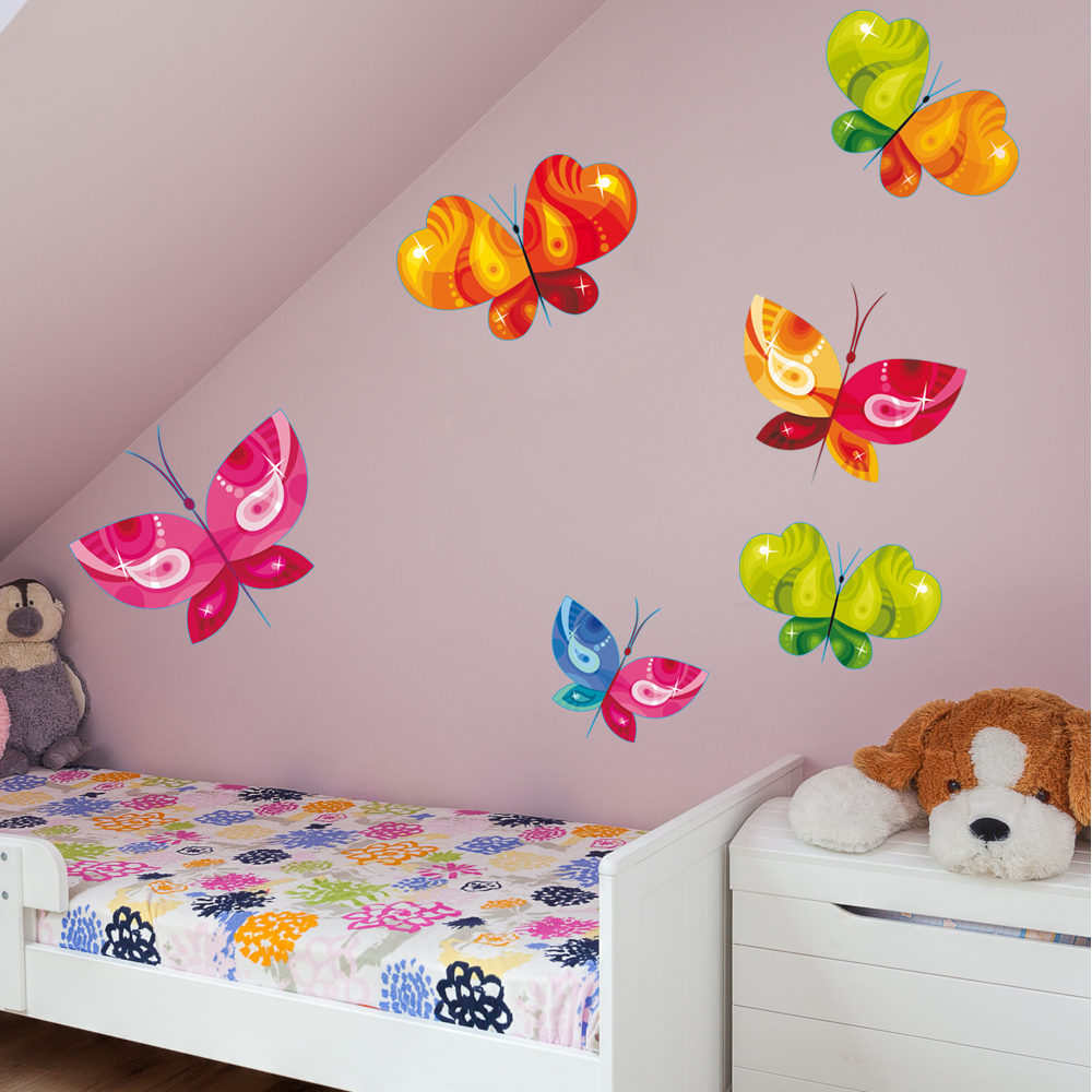 kit 6 stickers papillon pas cher. Black Bedroom Furniture Sets. Home Design Ideas