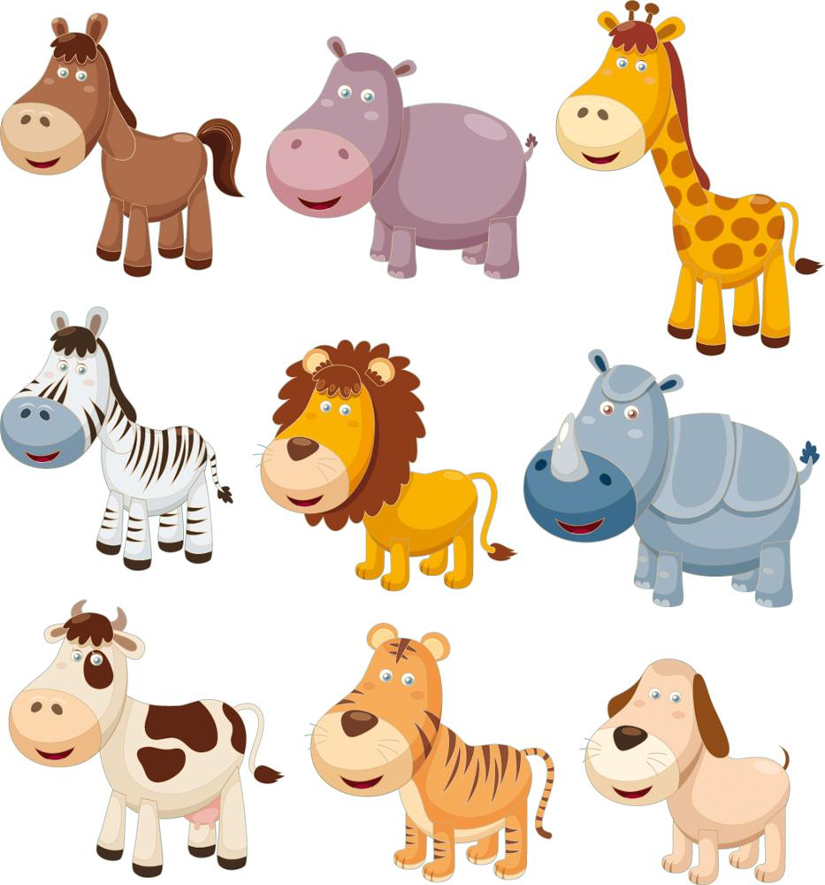 Kit stickers 9 animaux pas cher - Fotos infantiles de animales ...