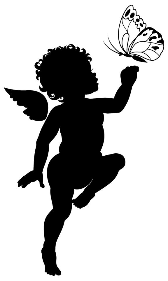 Stickers ange papillon pas cher - Dessin ange noir et blanc ...