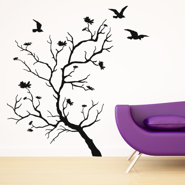stickers arbre oiseaux pas cher. Black Bedroom Furniture Sets. Home Design Ideas
