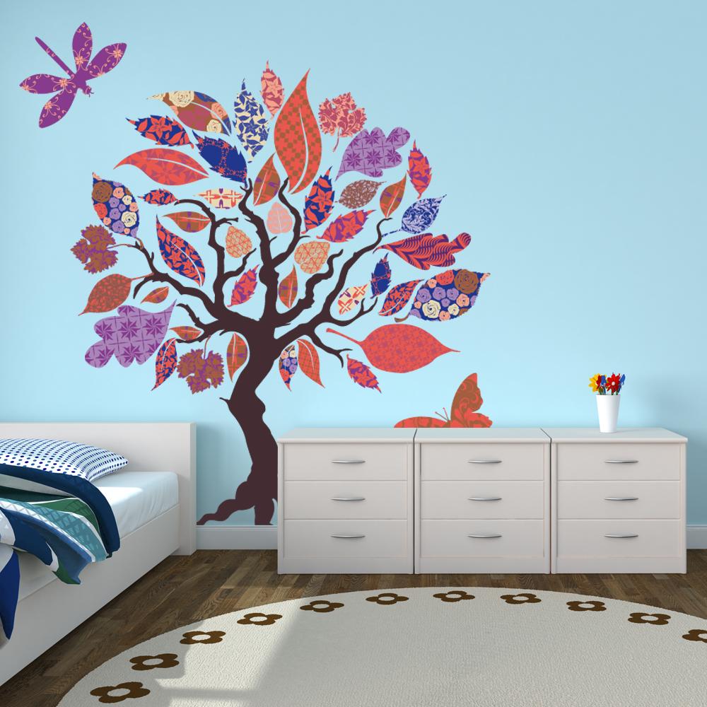 stickers arbre papillon libellule pas cher. Black Bedroom Furniture Sets. Home Design Ideas