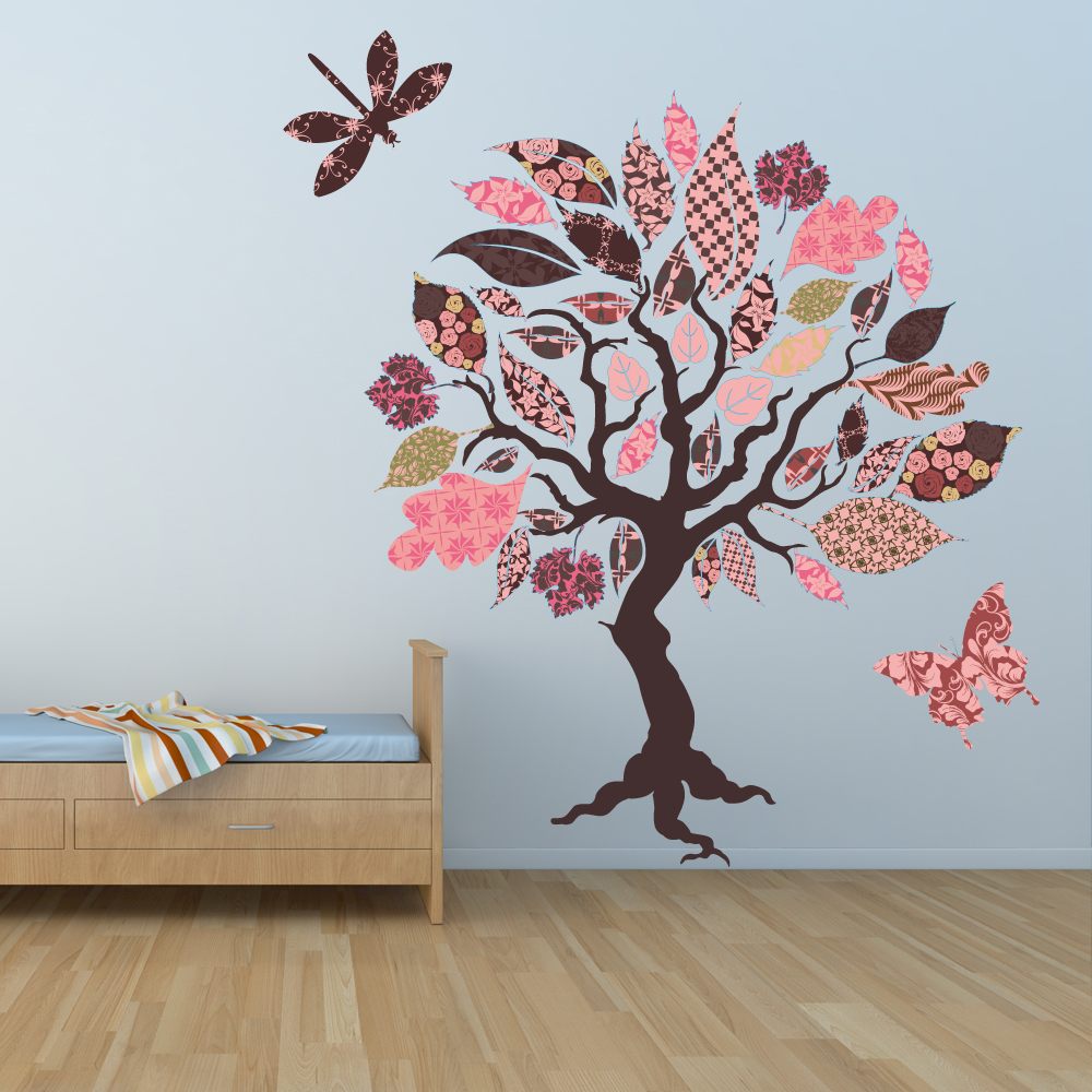 stickers arbre papillon libellule pas cher. Black Bedroom Furniture Sets. Home Design Ideas