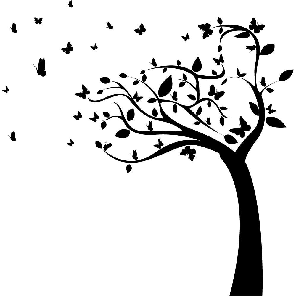 Stickers Arbre Noir : stickers arbre papillons pas cher ~ Teatrodelosmanantiales.com Idées de Décoration