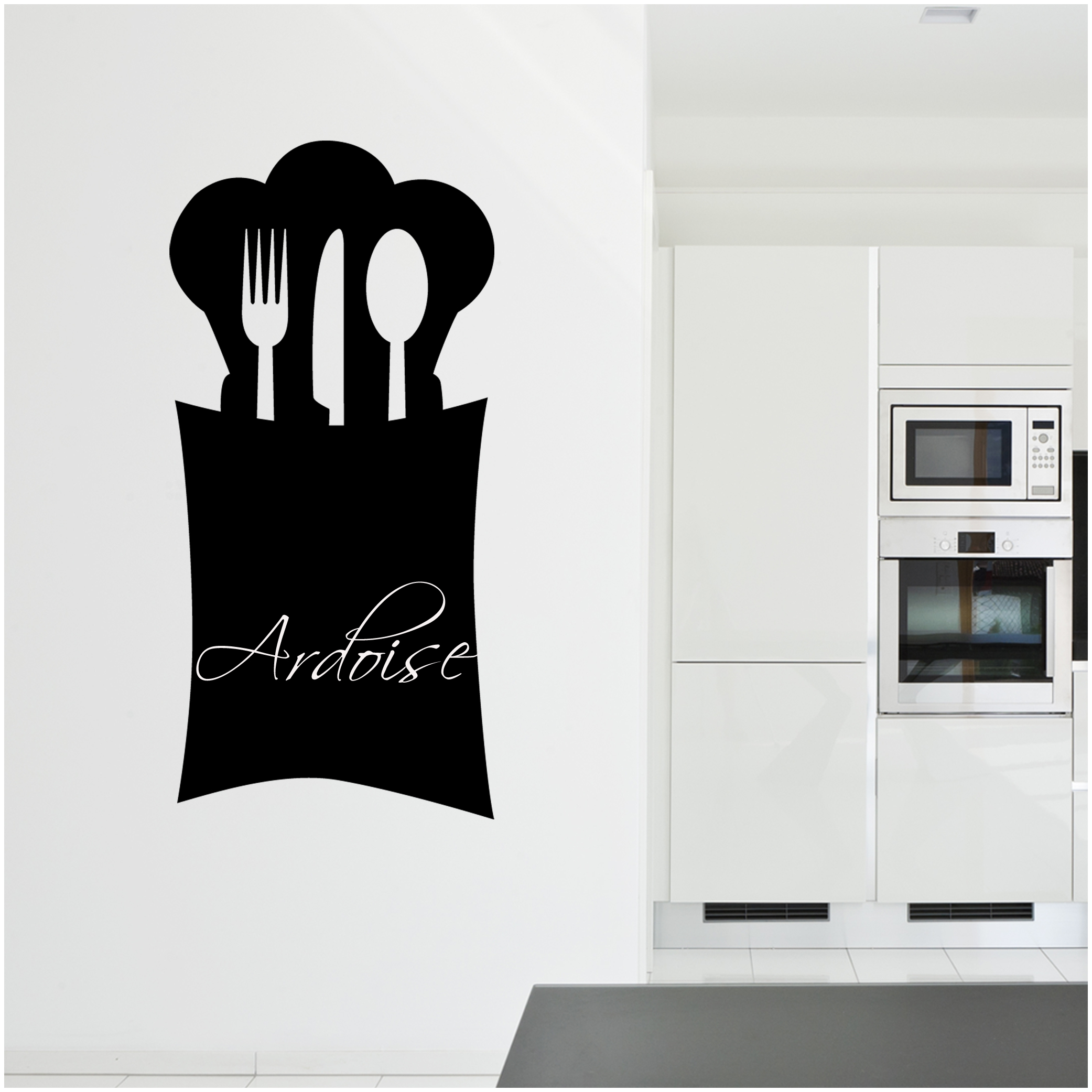 Top stickers ardoise cuisine couverts with stickers pour for Carrelage mural cuisine pas cher