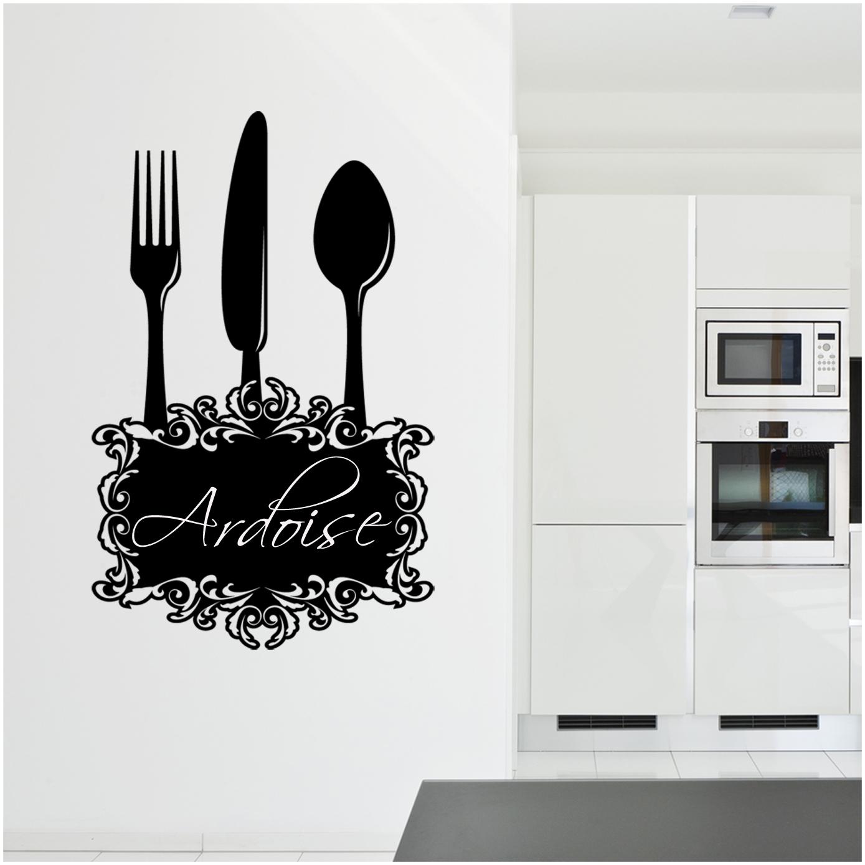 stickers ardoise cuisine couverts pas cher. Black Bedroom Furniture Sets. Home Design Ideas