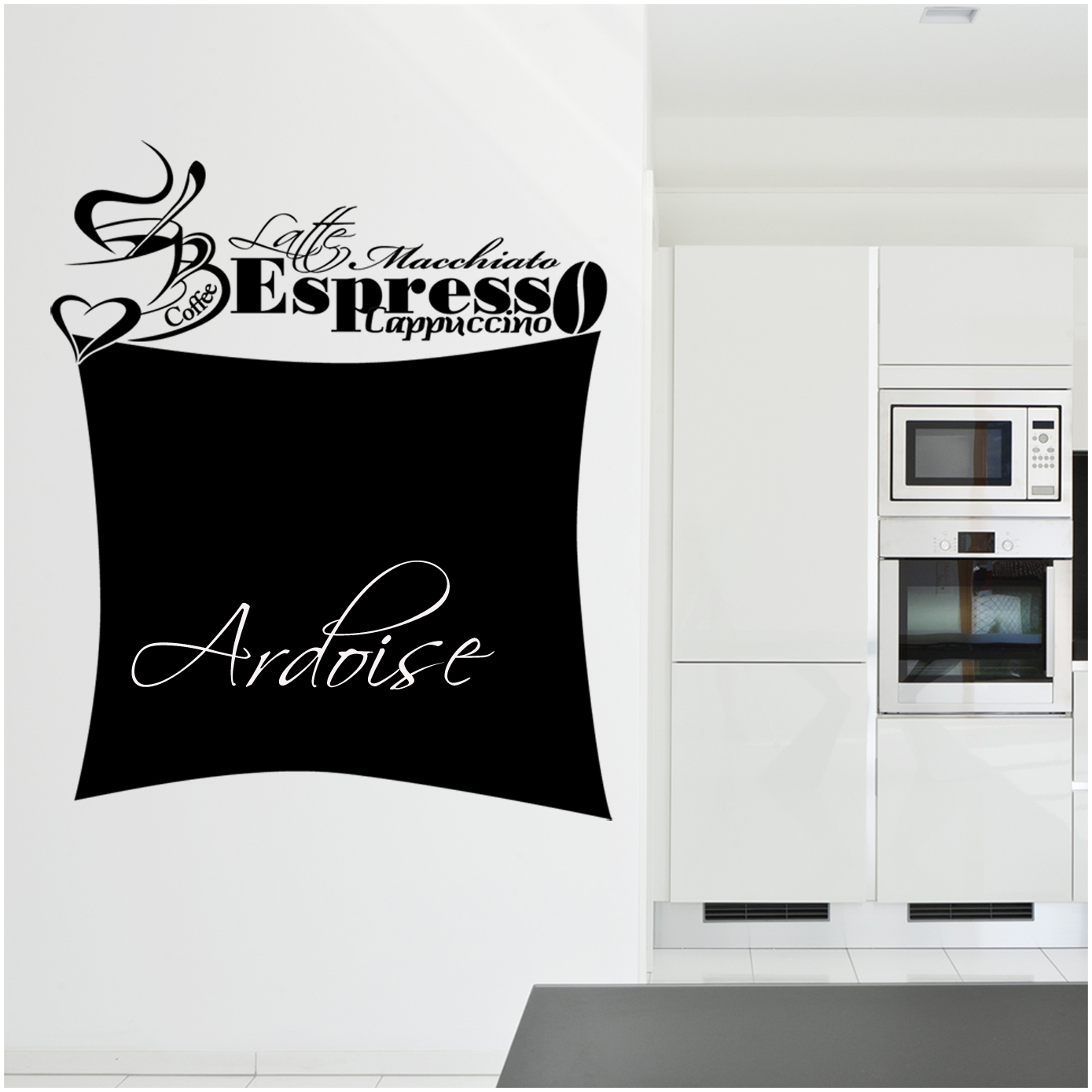 stickers ardoise tasse caf pas cher. Black Bedroom Furniture Sets. Home Design Ideas