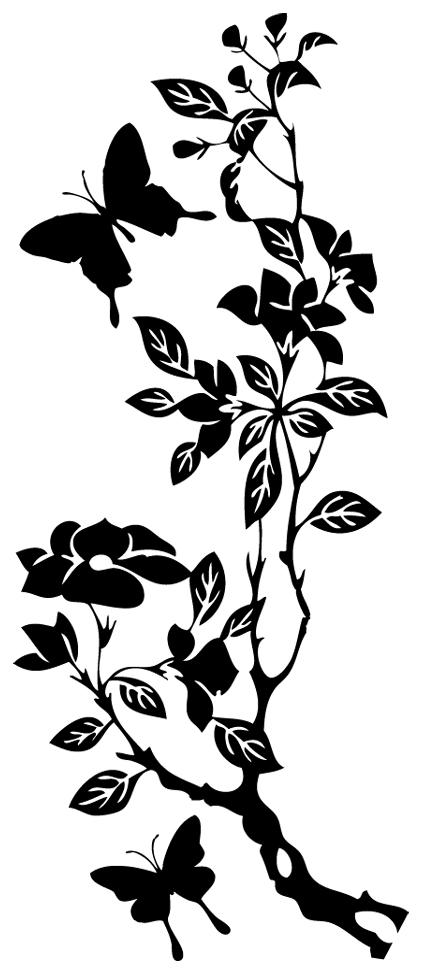 Stickers banche papillons pas cher - Dessin de fleur en noir et blanc ...