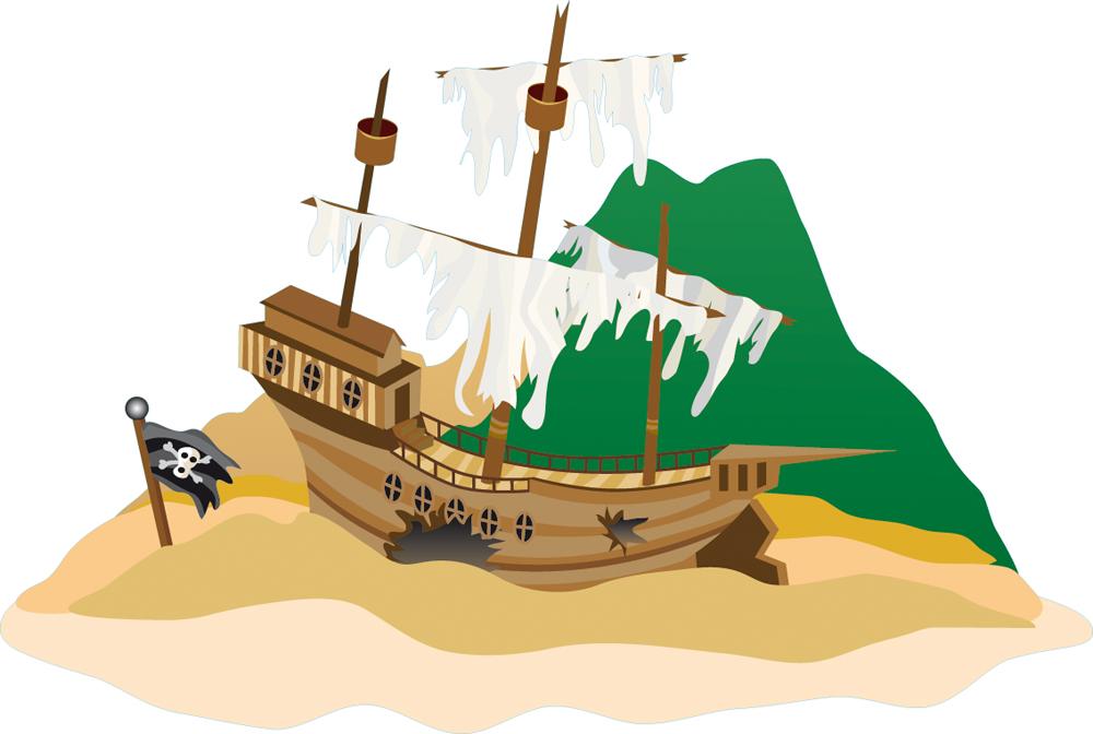 Stickers bateau pirate chou pas cher - Image bateau pirate ...