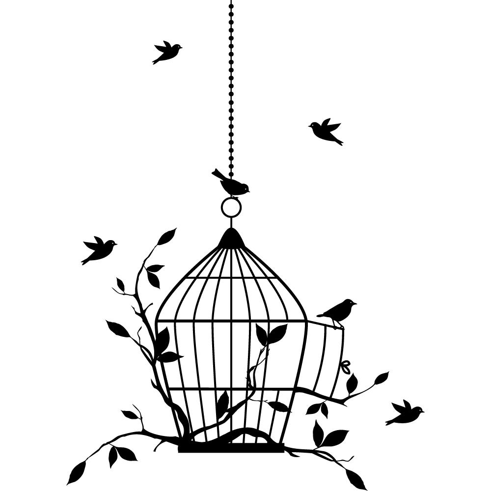 stickers cage oiseaux pas cher. Black Bedroom Furniture Sets. Home Design Ideas
