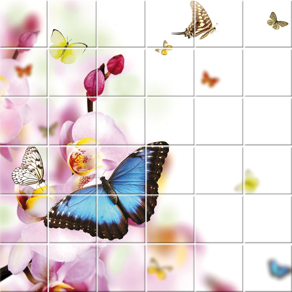 stickers carrelage fleurs papillons pas cher. Black Bedroom Furniture Sets. Home Design Ideas