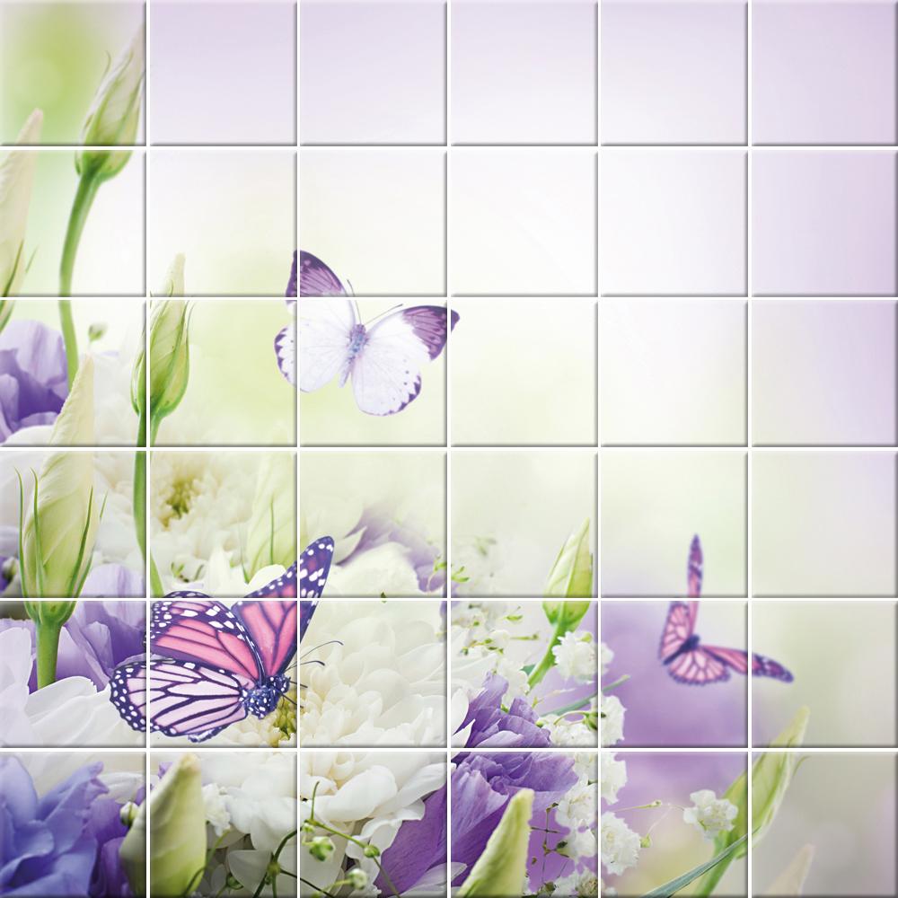 Stickers carrelage fleurs papillons pas cher - Stickers carrelage pas cher ...