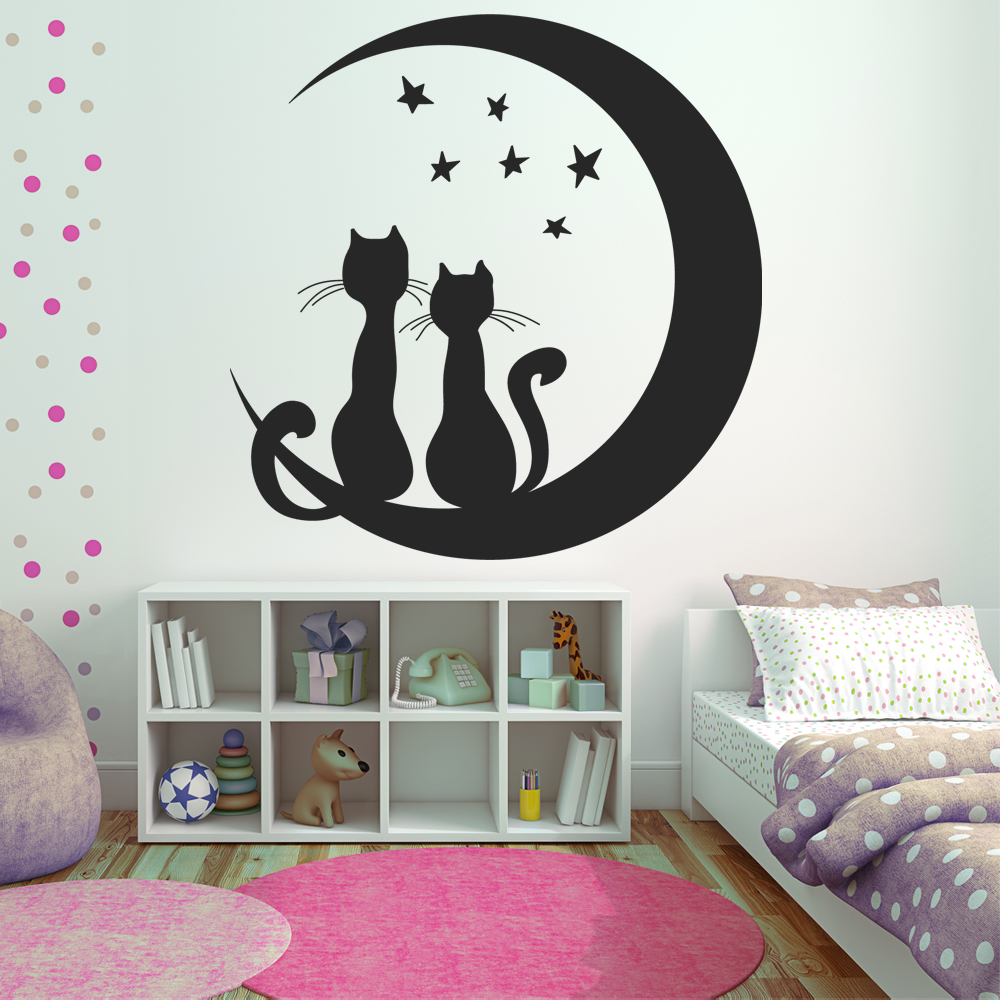 Stickers chats lune pas cher for Stickers de pared