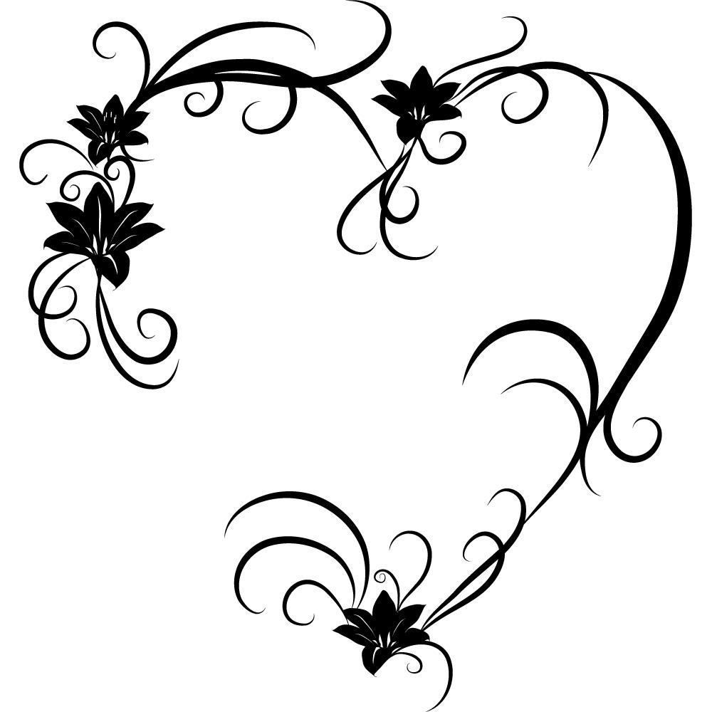 stickers coeur fleur pas cher