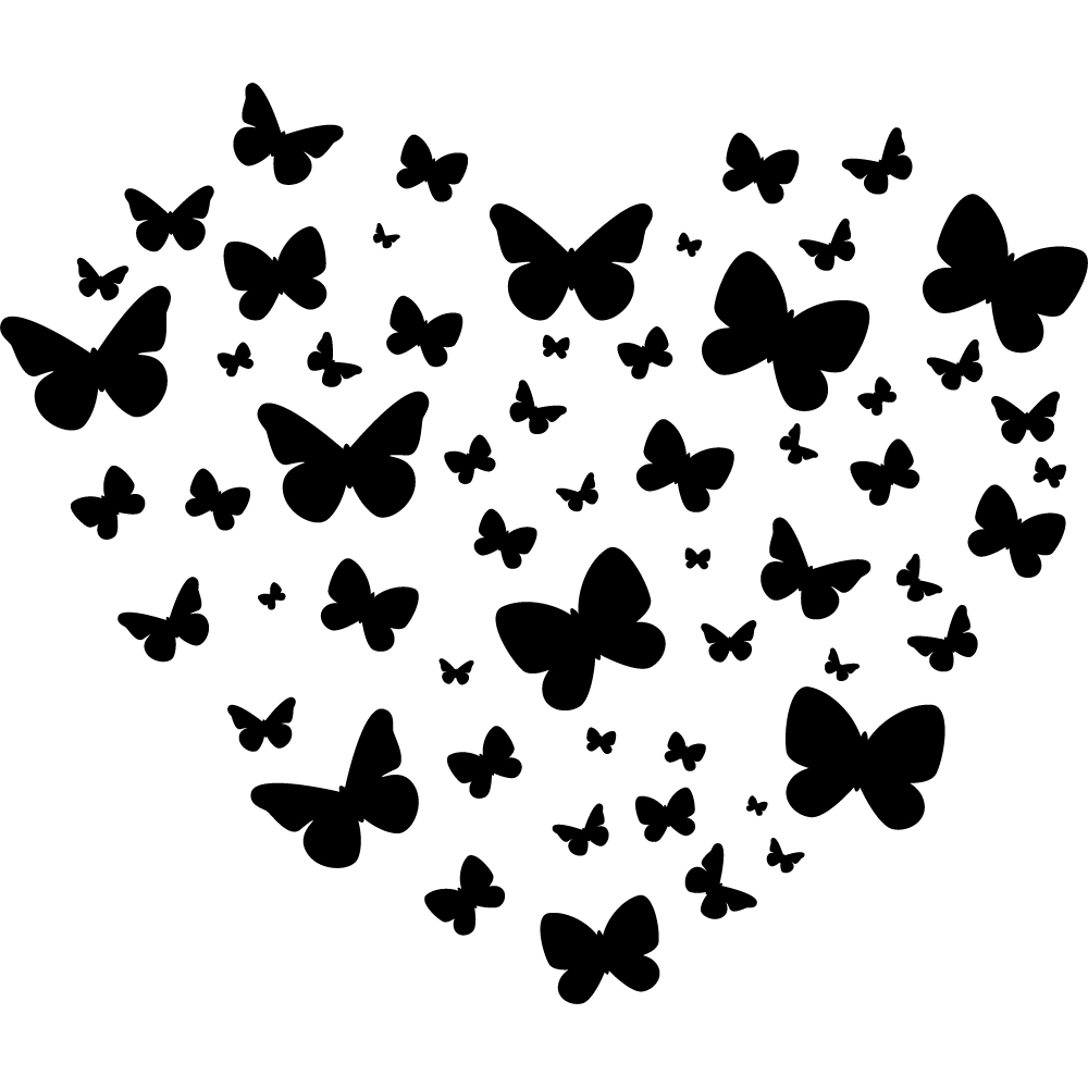 Decoration Murale Design Salon : Stickers coeur papillons Pas Cher