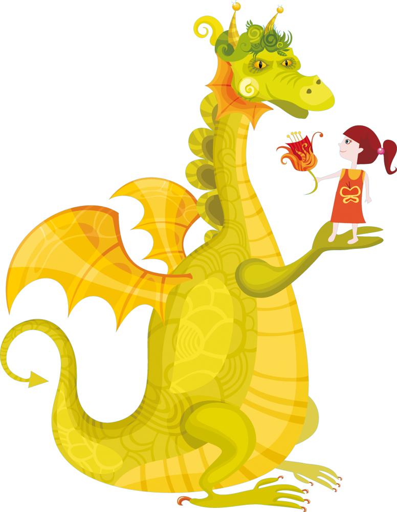 Stickers dragon et petite fille pas cher - Stickers petite fille ...