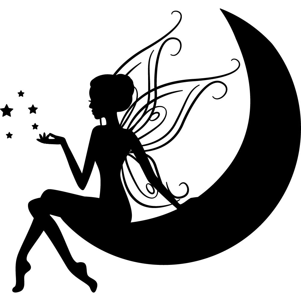 Stickers f e lune pas cher - Dessin de fee en noir et blanc ...