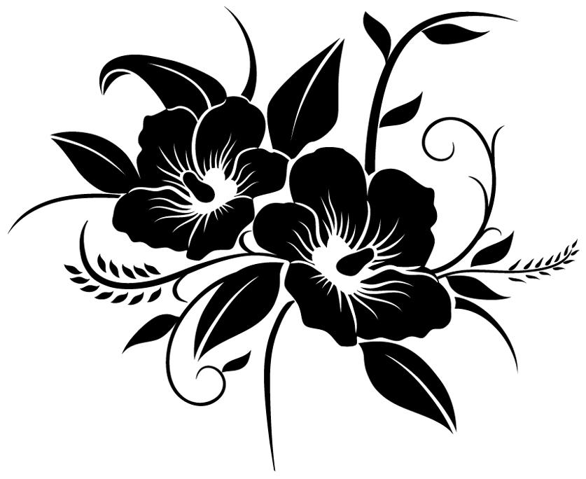 Stickers fleur pas cher - Dessin de fleur en noir et blanc ...