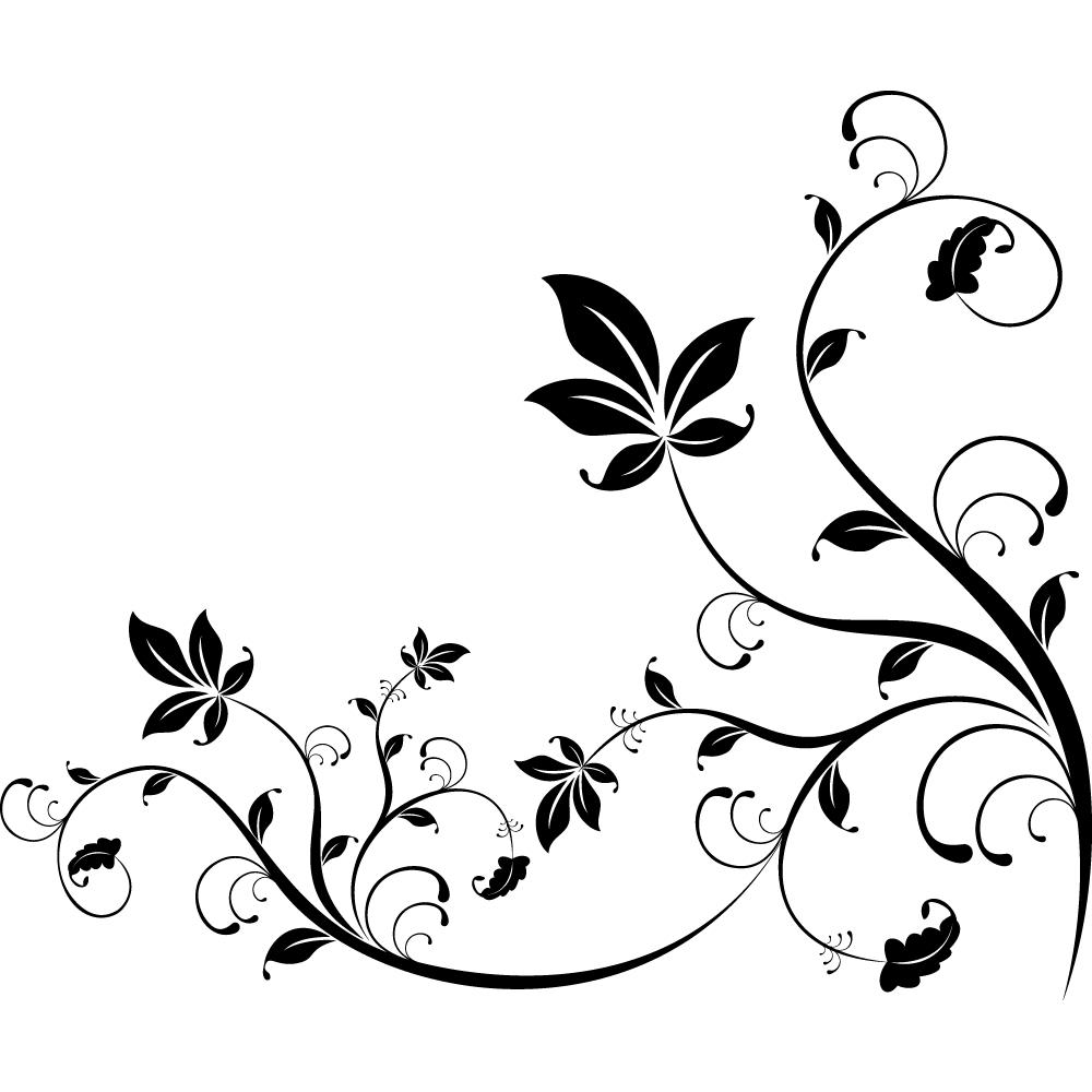 Stickers fleur pas cher - Stickers muraux noir et blanc ...