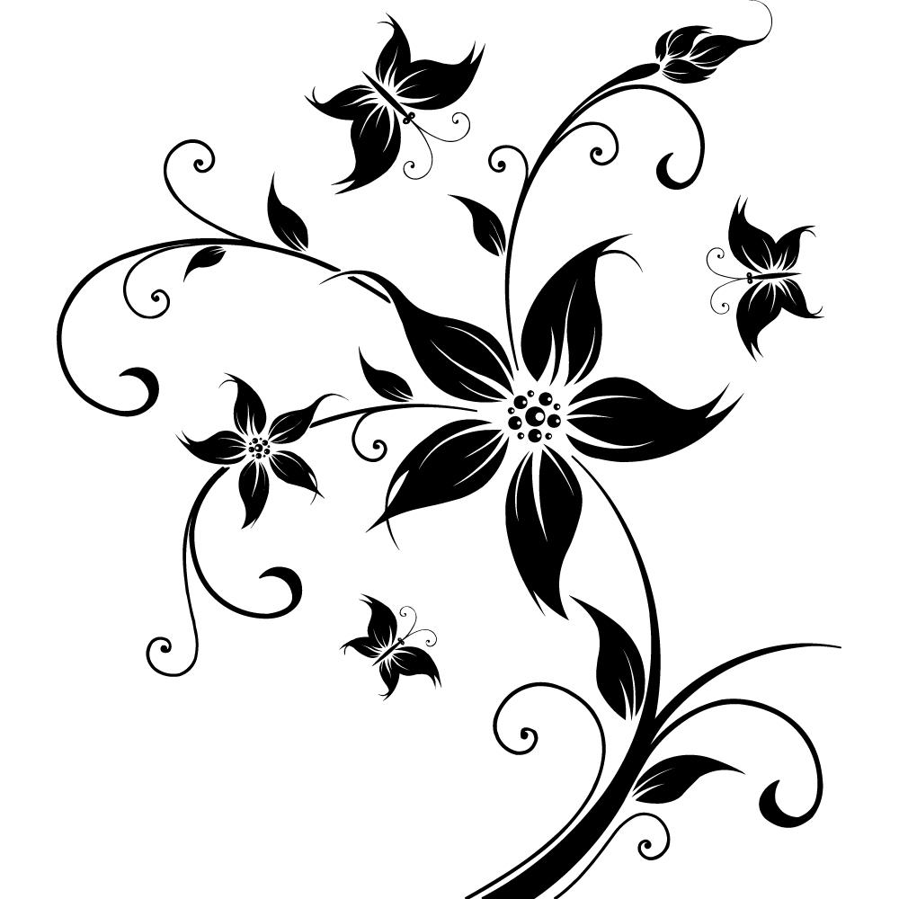Stickers fleur papillon pas cher - Stickers muraux noir et blanc ...
