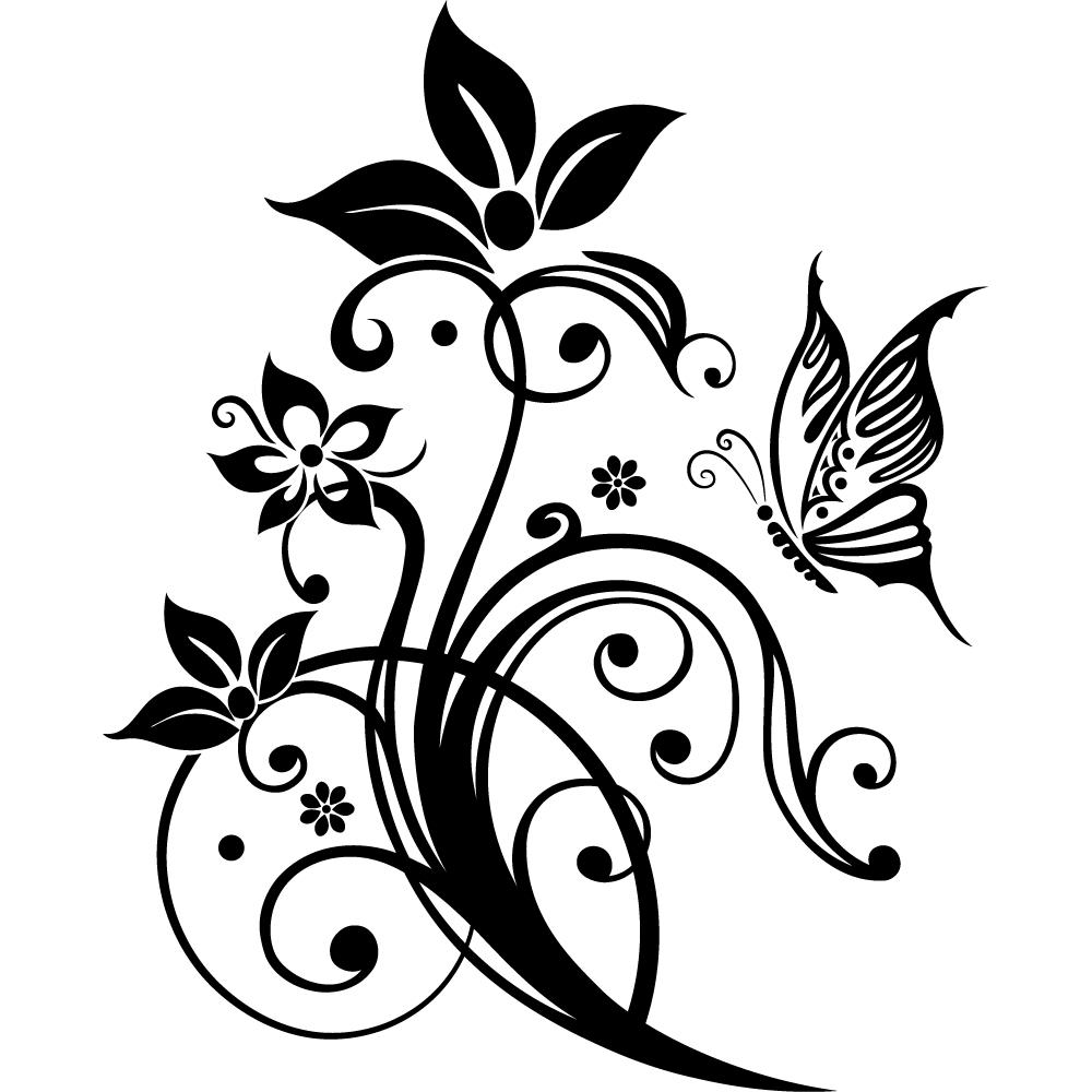 Stickers fleur papillon pas cher for Fleurs online