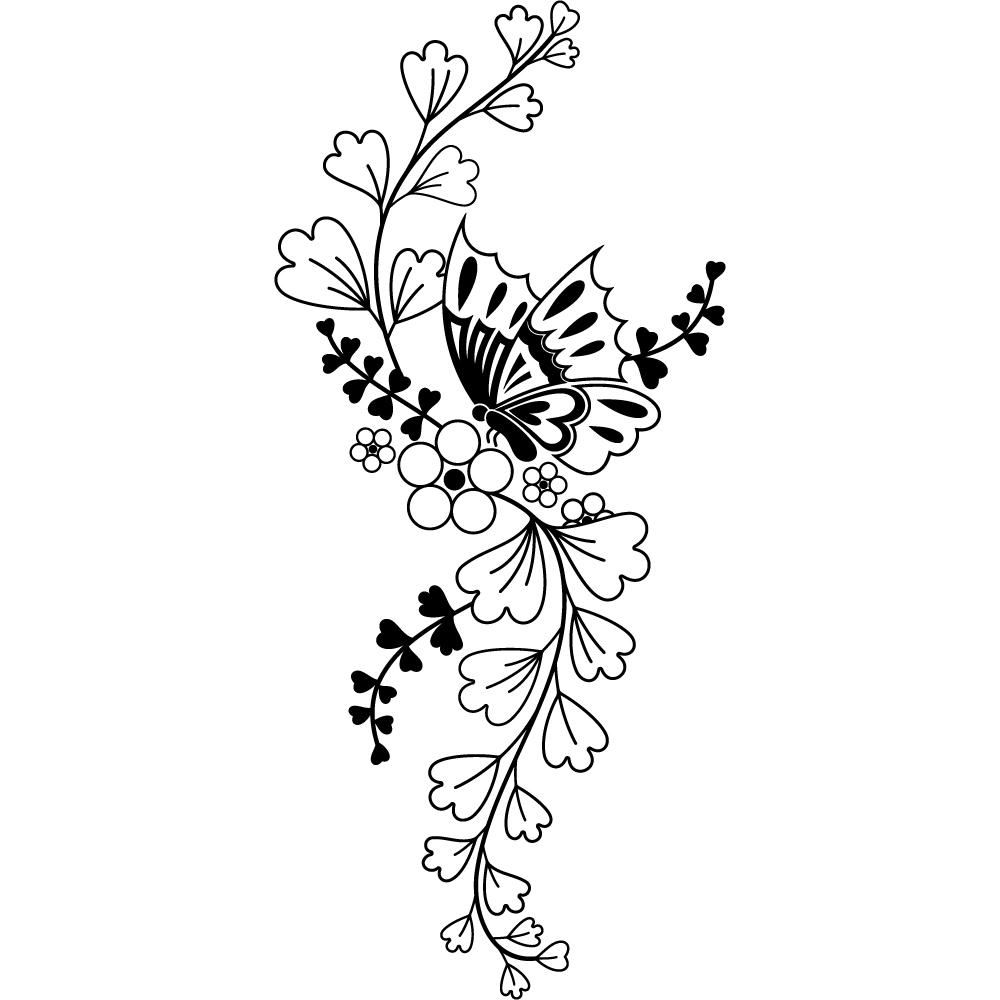 Stickers fleur papillon asiatique pas cher - Papillon fleur ...