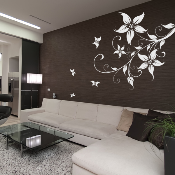 stickers fleur papillons pas cher. Black Bedroom Furniture Sets. Home Design Ideas