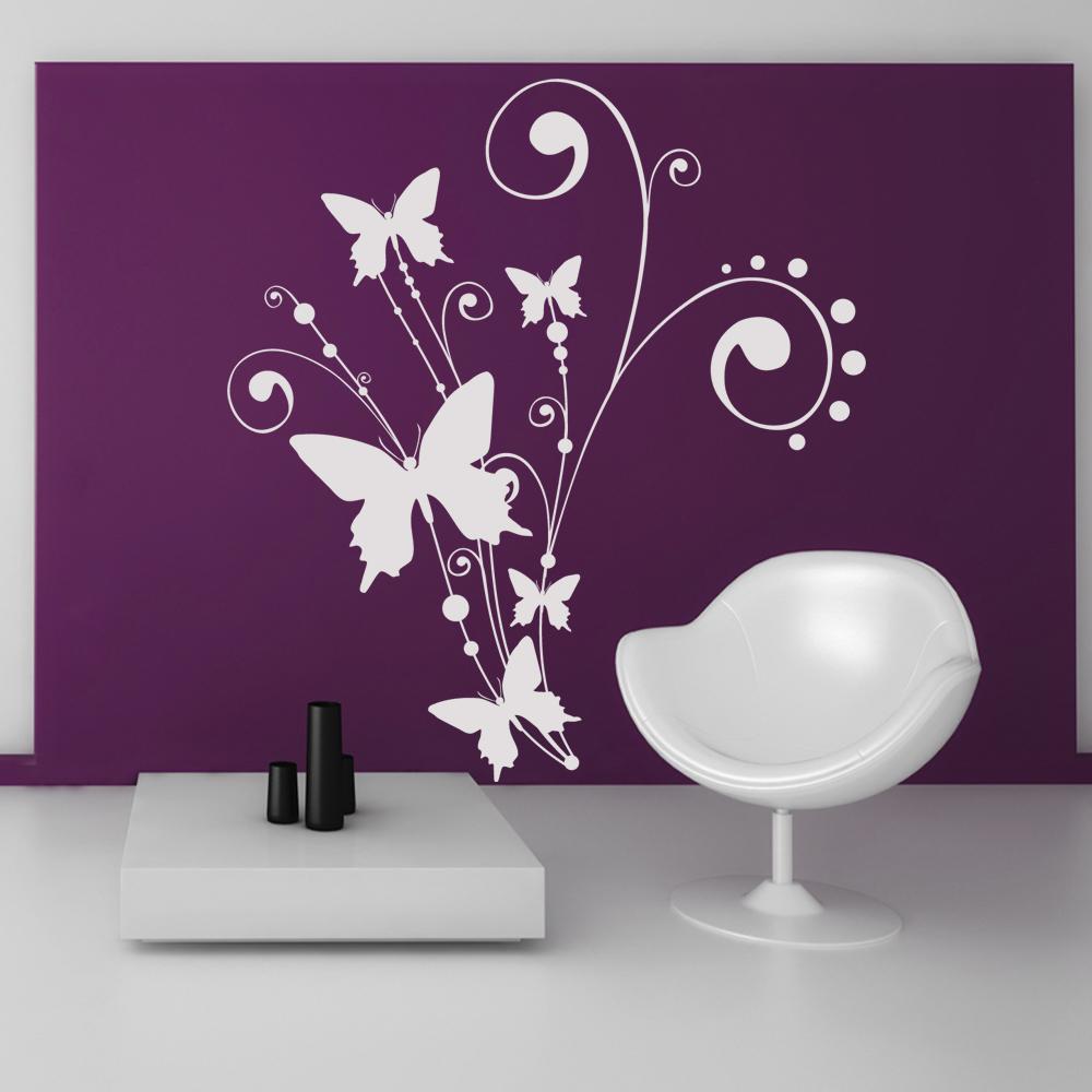 stickers fleur papillons pas cher. Black Bedroom Furniture Sets. Home Design Ideas