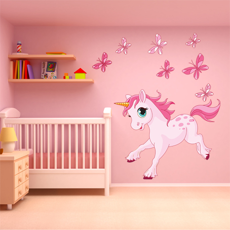stickers licorne papillons pas cher. Black Bedroom Furniture Sets. Home Design Ideas