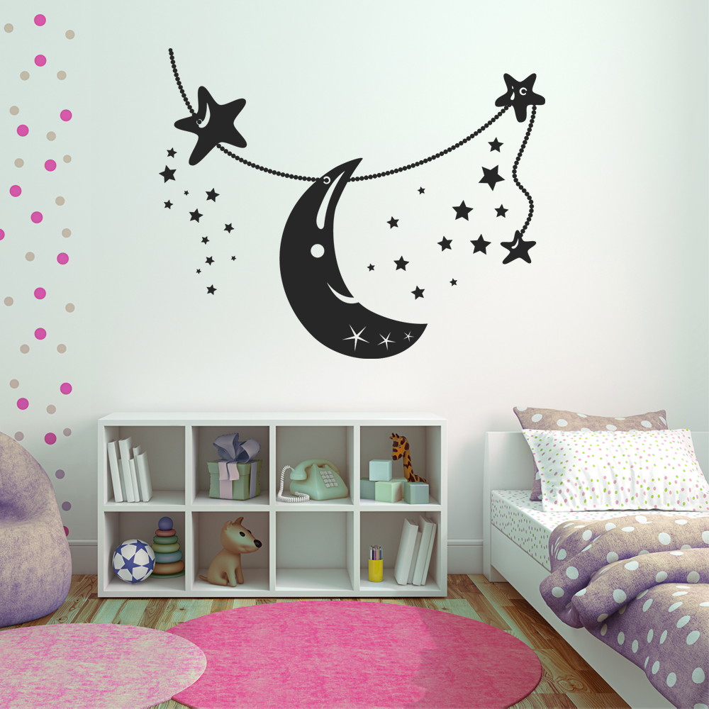Stickers lune toiles pas cher - Stickers etoile grise ...