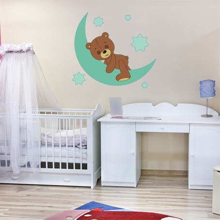 Stickers ourson dormeur pas cher for Miroir 90x100