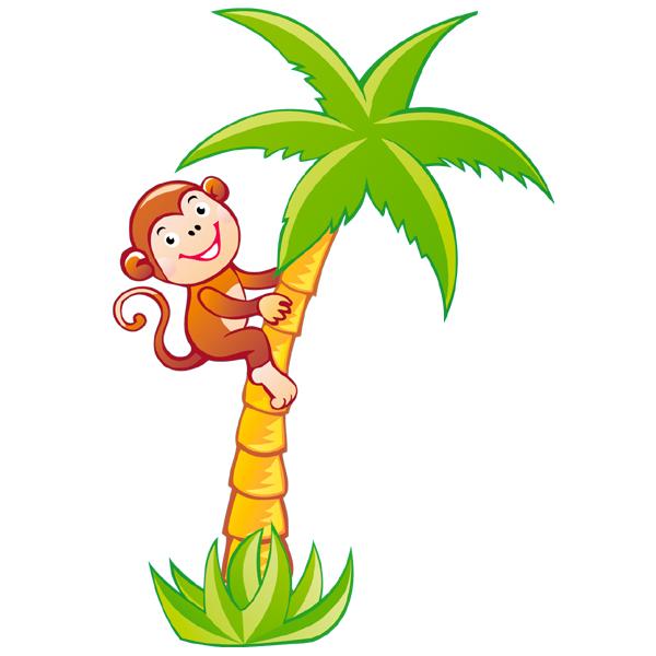 Stickers palmier singe pas cher - Dessin palmier ...