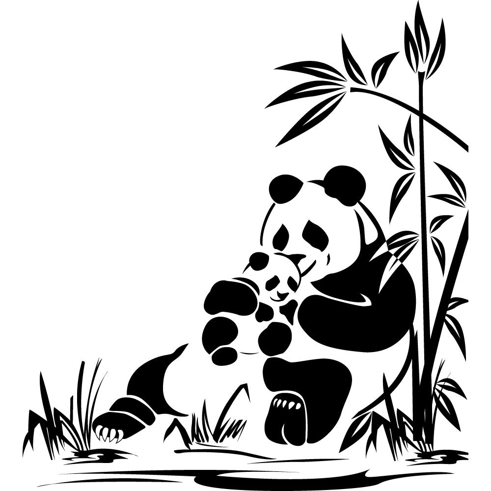 stickers panda pas cher. Black Bedroom Furniture Sets. Home Design Ideas