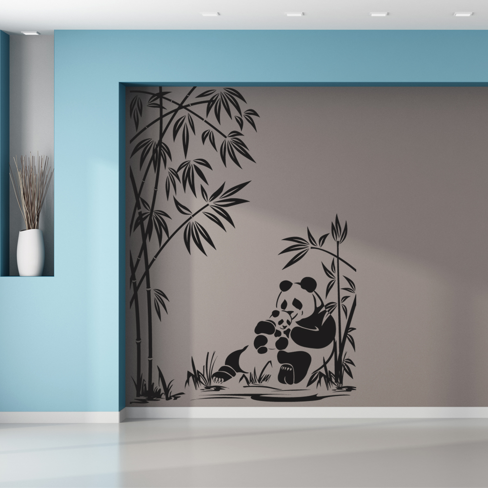 stickers panda bambou pas cher. Black Bedroom Furniture Sets. Home Design Ideas