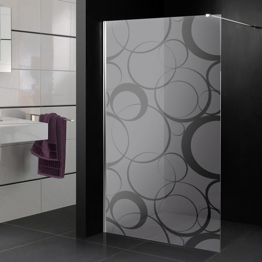 Stickers paroi de douche d poli cercle design 3 pas cher - Paroi de baignoire pas cher ...