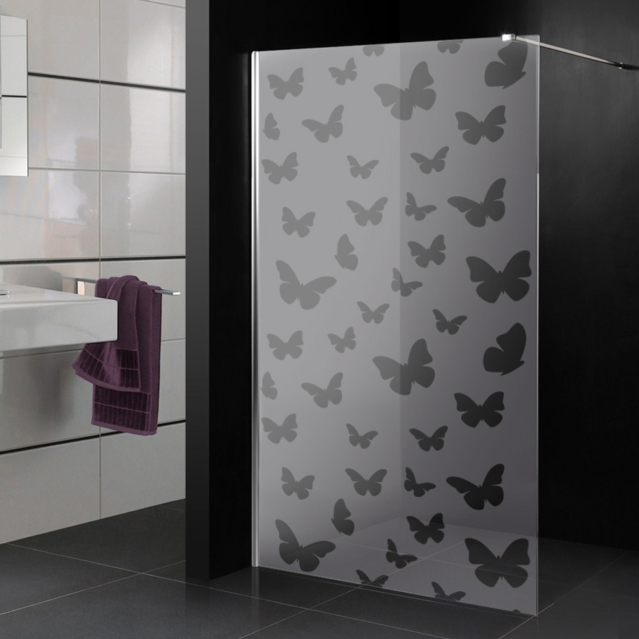 Stickers paroi de douche d poli papillons pas cher - Paroi de douche pas chere ...