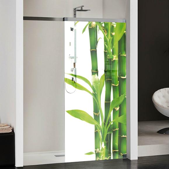 Stickers paroi de douche semi translucide bambous pas cher for Poster pour salle de bain