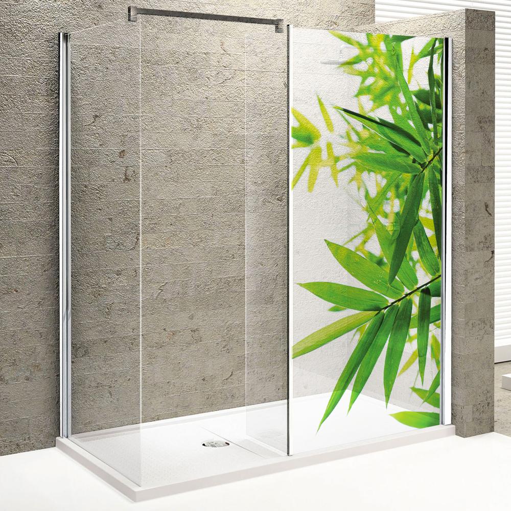 Stickers paroi de douche semi translucide feuilles pas cher for Sticker fenetre salle de bain