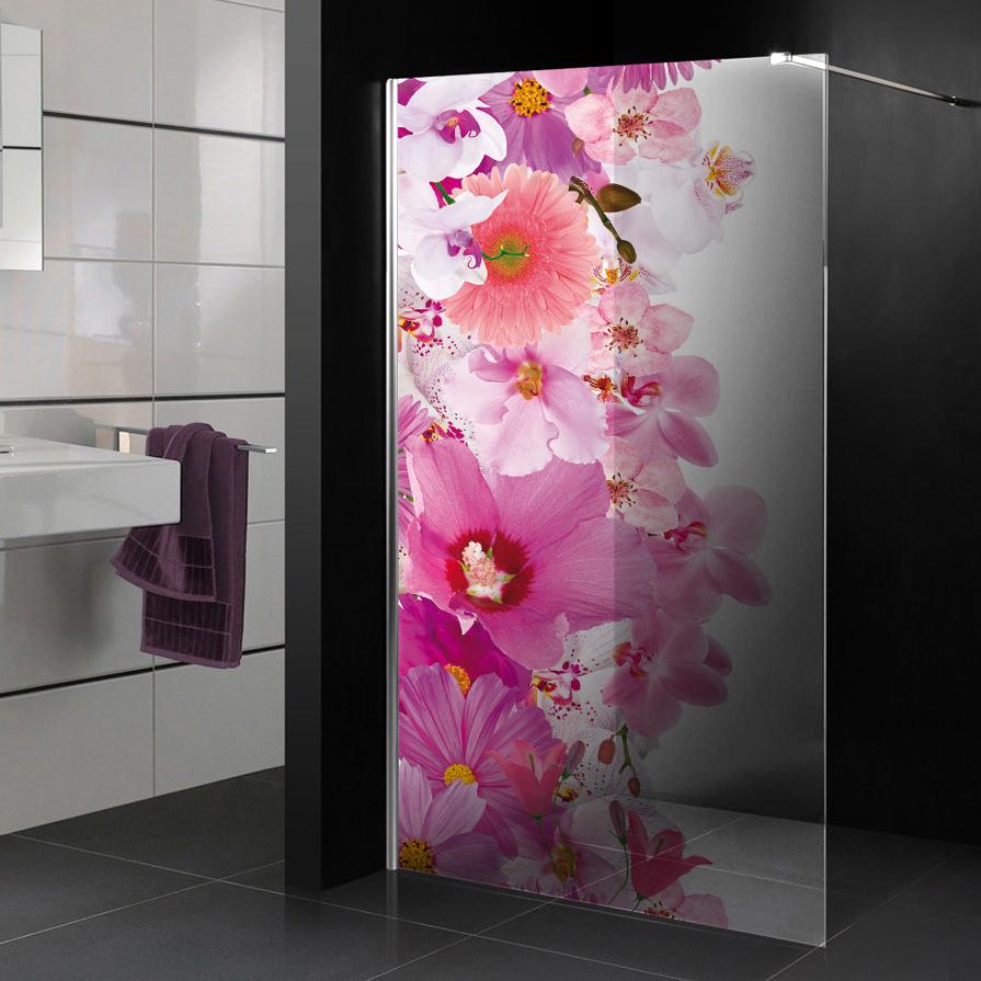 stickers paroi de douche semi translucide fleurs pas cher. Black Bedroom Furniture Sets. Home Design Ideas