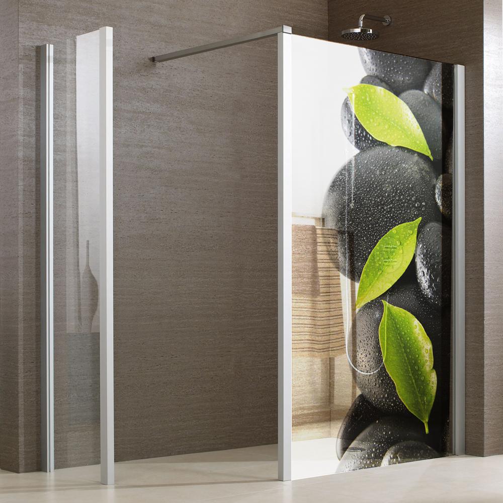 stickers paroi de douche semi translucide galets 3 pas cher. Black Bedroom Furniture Sets. Home Design Ideas