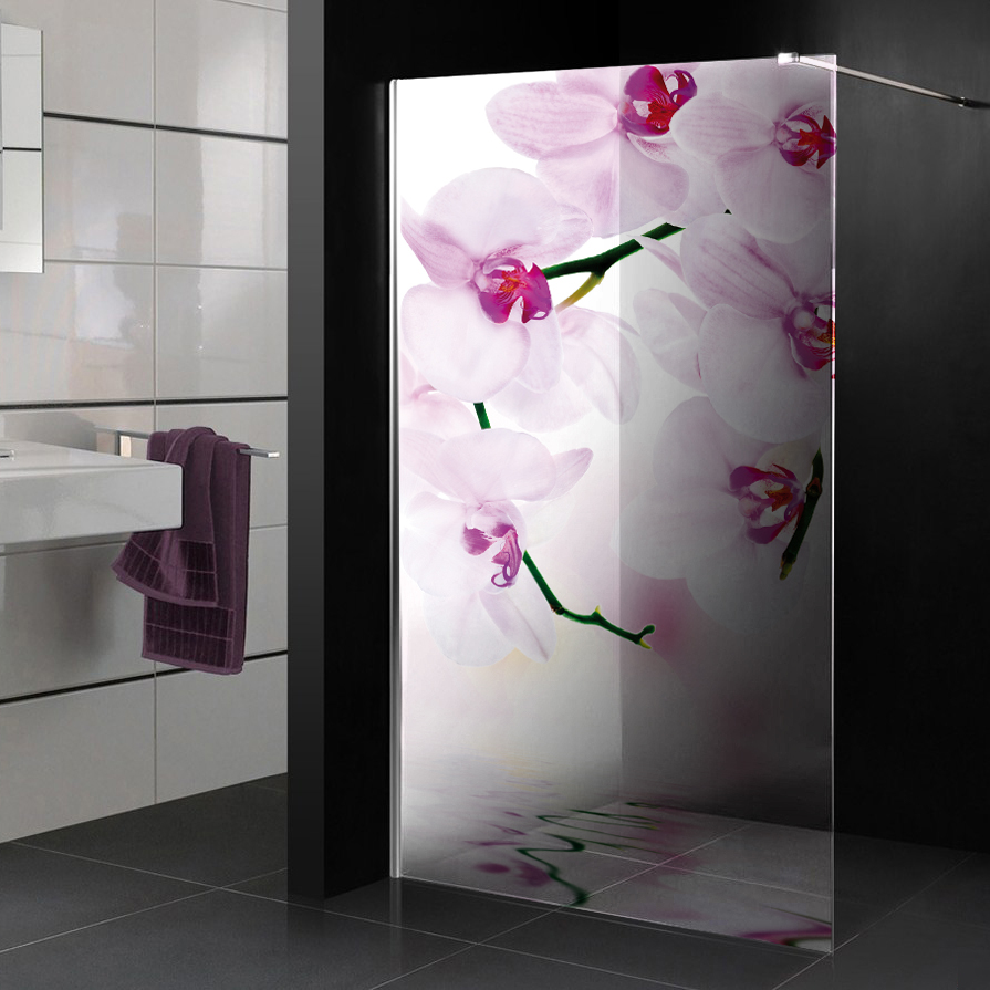 stickers paroi de douche semi translucide orchid e 2 pas cher. Black Bedroom Furniture Sets. Home Design Ideas