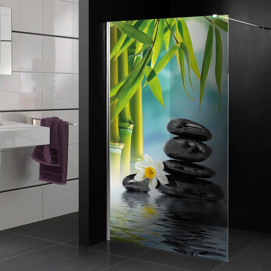 Stickers paroi de douche semi translucide zen pas cher for Sticker fenetre salle de bain