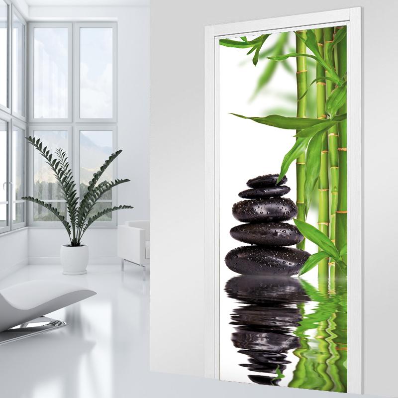 stickers porte bambou galet pas cher. Black Bedroom Furniture Sets. Home Design Ideas
